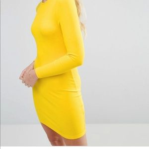 NWOT! ASOS Body-Conscious Bright Yellow Mini Dress